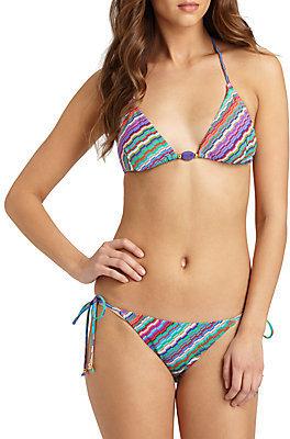 Shoshanna Bialik-Print Beaded Bikini Top