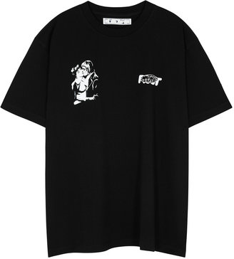 Off-White Kiss 21 Black Printed Cotton T-shirt