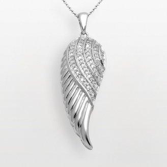 Sterling Silver 1/10-ct. T.W. Diamond Angel Wing Pendant