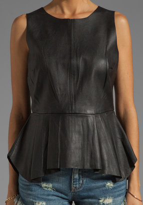 Patterson J. Kincaid PJK Erin Pleated Leather Peplum Shell