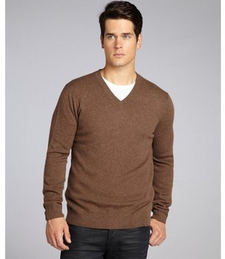 Harrison oak cashmere ribbed trim v-neck sweater