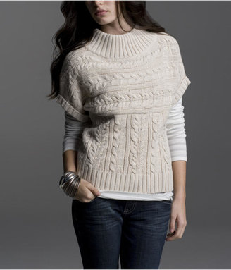 Express Short-Sleeve Funnel-Neck Sweater