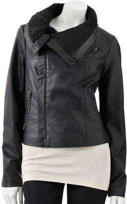 JLO by Jennifer Lopez faux-leather motorcycle jacket