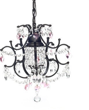 Bed Bath & Beyond Gallery Mini Wrought Iron Crystal Chandelier - Pink Hearts