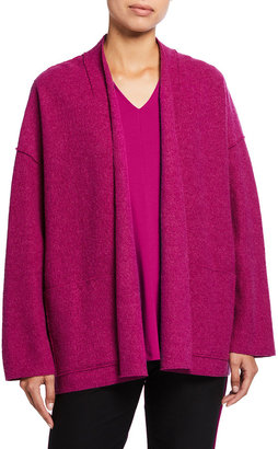 Eileen Fisher Petite Boiled Wool High Collar Open Jacket