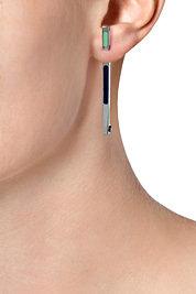 Delfina Delettrez Silver/Neon Earrings with Zircons/Enamel