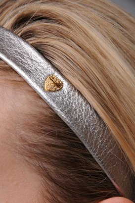 Juicy Couture Leather Headband w/ Pave Heart