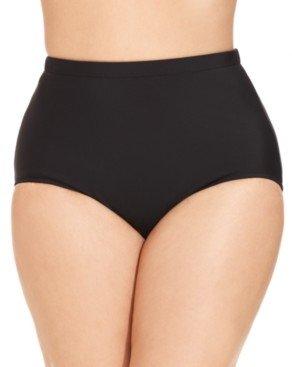 Swim Solutions Plus Size Mid-Rise Tummy-Control Swim Bottoms Women's Swimsuit