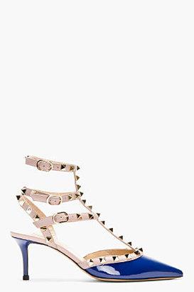 Valentino Navy patent rockstud strapped heels