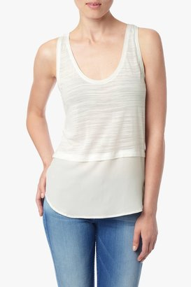 7 For All Mankind Silk Banded Tank In Blanc De Blanc