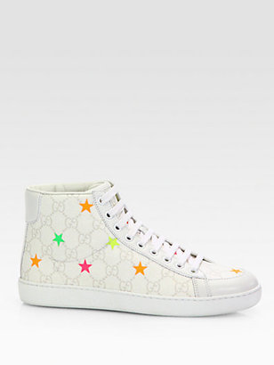 Gucci Brooklyn GG Stars Canvas High-Top Sneakers