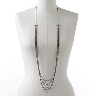 Lauren Conrad brass tone simulated crystal bow long necklace