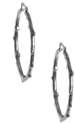 Lucky Brand Earrings, Silver Tone Branch Hoop Earrings