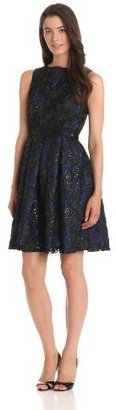 Isaac Mizrahi Women's Floral Lace Dress With Sequins And Beaded Waistline