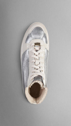 Burberry Metallic Leather Shearling High-Top Trainers