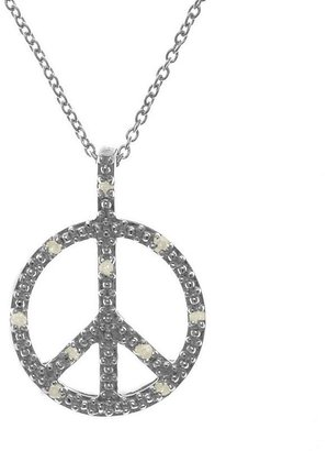 Sterling silver 1/10-ct. t.w. diamond peace sign pendant