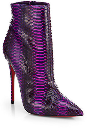Christian Louboutin So Kate Watersnake Ankle Boots