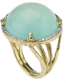 Jolie B Ray Cabachon Green Chalcedony Cocktail Ring With Diamonds