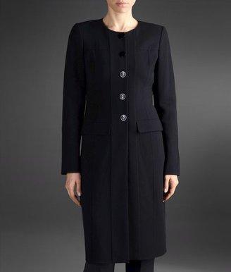 Armani Collezioni Round Neck Coat In Wool And Silk