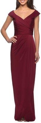 La Femme Off-the-Shoulder Ruched Jersey Column Gown