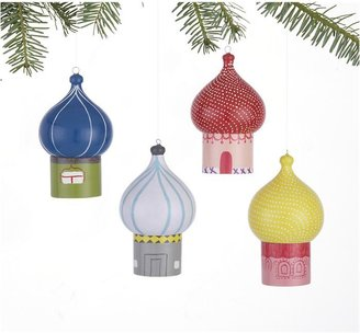 Crate & Barrel Set of 4 Holiday House Box Ornaments