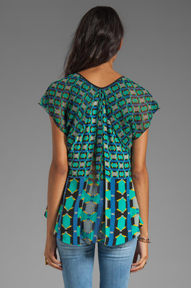 Tracy Reese Silk Prints Combo Blouse