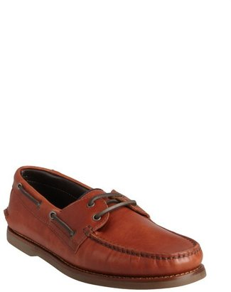 Brunello Cucinelli brown leather boatstitched loafers