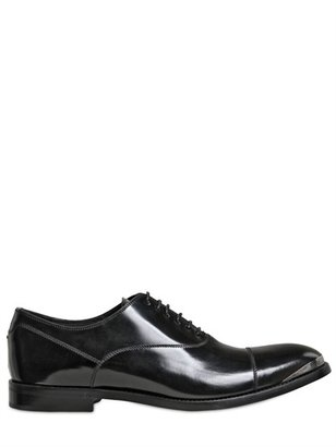 Alexander McQueen Metal Point Brushed Leather Oxford Shoes