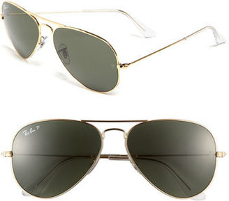 Women's Ray-Ban Original 58Mm Polarized Aviator Sunglasses - Black $200 thestylecure.com