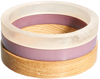 French Connection Wood Mix Bangle Set