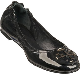 Tory Burch Reva Ballet Flat Silver/Black Leather