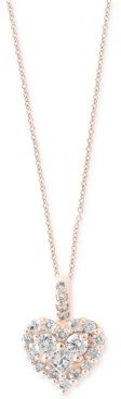 Effy Diamond Heart Pendant Necklace in 14k White Gold or Rose Gold (5/8 ct. t.w.)