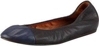 Lanvin Scrunched Cap-Toe Ballerina Flat, Black/Blue