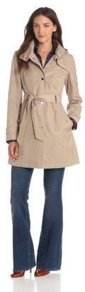 Tommy Hilfiger Women's Snap-Front Hooded Rain Trench Coat