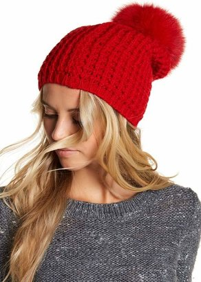 Kyi Kyi Genuine Fox Fur Pompom Wool Blend Beanie