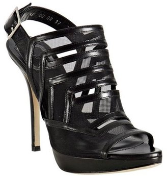 Christian Dior black leather and mesh cut-out platform sandals