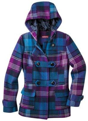 Merona Women's Toggle Coat -Blue/Purple Plaid