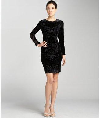 Wyatt black velvet burnout contoured fit long sleeve evening dress