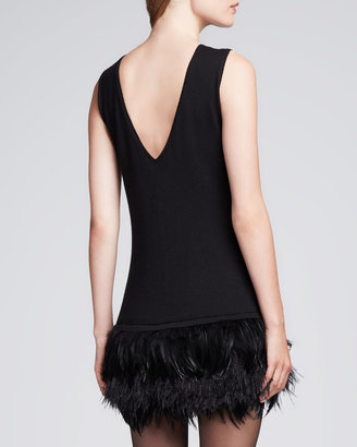 Nanette Lepore Plume Feather-Hem Crepe Dress