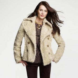 Anne Klein Faux Fur Pea Coat