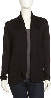 Neiman Marcus Shawl-Collar Open Cardigan, Black