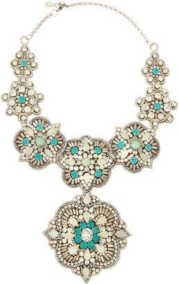 Deepa Gurnani Crystal and Resin Bib Necklace, Ice Blue