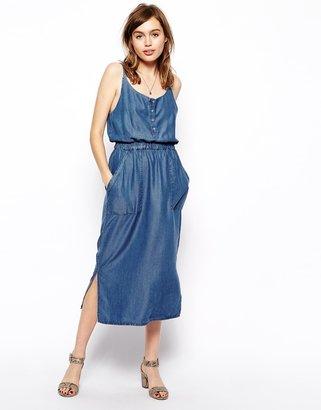 Asos Denim Cami Midi Dress in Dark Wash