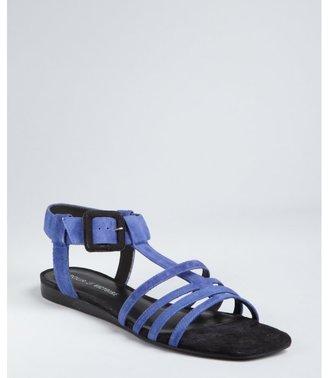 Pour La Victoire blue suede 'Briton' buckle sandals