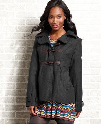 YMI Jeanswear Juniors Coat, Hooded Wool-Blend Duffle