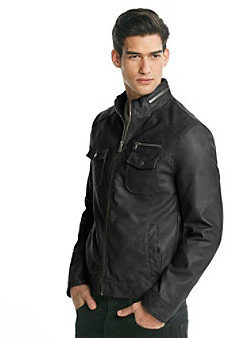 Kenneth Cole Reaction Men's Black Faux Leather Jacket