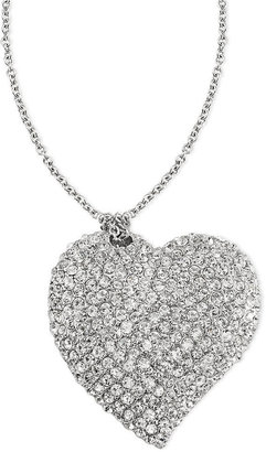 Carolee Necklace, Silver-Tone Crystal Heart Pendant Necklace