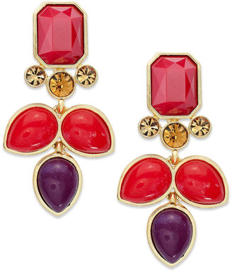Charter Club Gold-Tone Red Stone Clip-On Drop Earrings