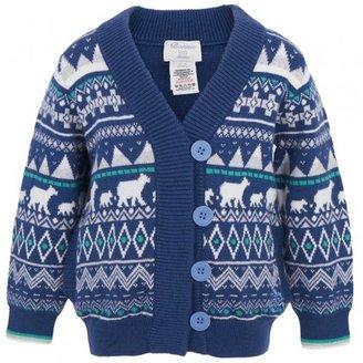 Bonnie Baby Blue Polar Bear Print Cardigan