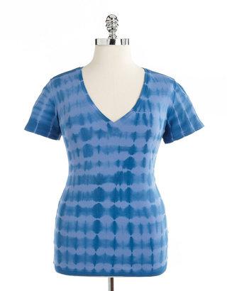 Kate Hill Plus-Size Tie-Dye V-Neck Cotton Tee